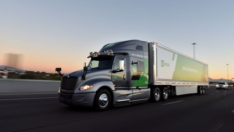 The TuSimple self-driving truck is pictured in this handout photo